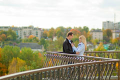 Romantic couple standing in autumn park Stock Images