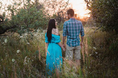 Romantic couple standing back in the sunset light in the park, holding hands Royalty Free Stock Photography