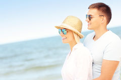 Romantic couple standing at the beach Royalty Free Stock Photography