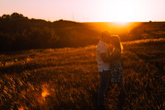 Romantic couple standing and kissing on background summer meadow sunset Royalty Free Stock Photo