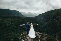 Lovely wedding couple softly hugging. Beautiful mountain landsca Stock Photography