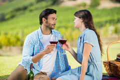 Romantic couple staring at each other while holding wineglasses. With vineyard in background Stock Photography