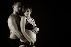 Beautiful pregnant woman with her husband Royalty Free Stock Image