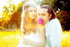 Romantic couple on the summer. Glade Stock Image