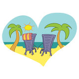 Romantic couple sunning by the sea, Doodle Stock Image