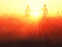 Romantic couple at sunrise. Romantic couple at red sunrise Royalty Free Stock Photography
