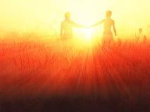 Romantic couple at sunrise Royalty Free Stock Photography