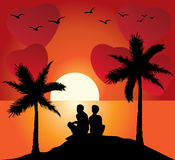 Romantic couple at sunset Royalty Free Stock Image