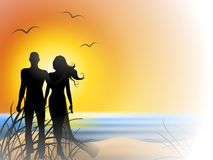 Romantic Couple Sunset Beach. An illustration featuring a beach scene at sunset with water, sand, sun, and gulls flying fading from right to left with a stock illustration