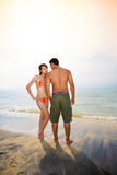Romantic couple on sunset beach Royalty Free Stock Photography