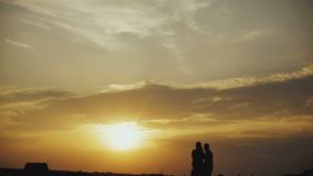 Romantic couple at sunset stock video