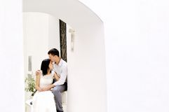 Romantic couple tenderly together after their wedding in Sperlonga Royalty Free Stock Photography