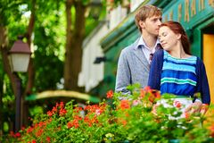 Romantic couple together on balcony Stock Image