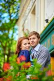 Romantic couple together on balcony Royalty Free Stock Image