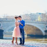 Romantic couple in Paris stock photos
