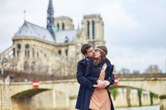 Romantic couple together in Paris Royalty Free Stock Photography