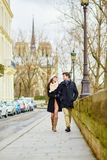 Romantic couple together in Paris Royalty Free Stock Photo