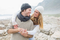Romantic couple together on rocky landscape Royalty Free Stock Photos