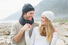 Romantic couple together on rocky landscape Royalty Free Stock Photography