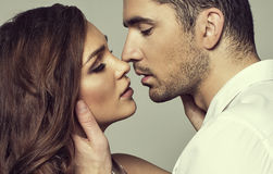 Romantic couple. Touching and kissing each other Royalty Free Stock Photo