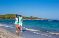 Romantic couple at tropical beach during summer Royalty Free Stock Photo