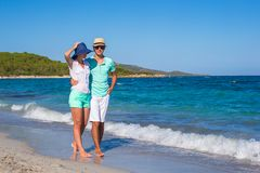 Romantic couple at tropical beach during summer Stock Photography