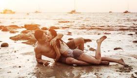Romantic couple on a tropical beach