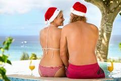 Romantic couple tropical on Christmas holiday Stock Photography
