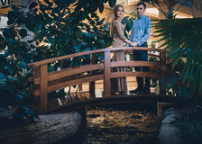 Romantic couple in the tropical jungle near the creek Royalty Free Stock Photos
