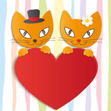 Romantic couple of two loving cats - Illustration,  Stock Images