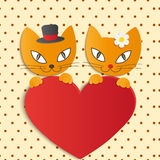Romantic couple of two loving cats - Illustration,  Royalty Free Stock Image