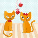 Romantic couple of two loving cats - Illustration,  Royalty Free Stock Photos