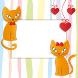 Romantic couple of two loving cats - Illustration, . Royalty Free Stock Image