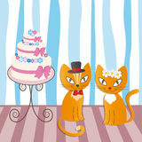 Romantic couple of two loving cats - Illustration Royalty Free Stock Photos
