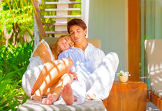 Romantic couple on vacation Stock Images