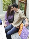 Romantic Couple At Verandah Table Royalty Free Stock Photography