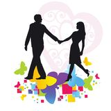 Romantic couple walking Royalty Free Stock Photography