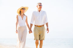 Romantic Couple Walking on the Beach Stock Image