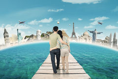 Romantic Couple Walking on The Bridge Stock Photography
