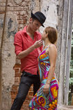 Romantic couple wants to kiss. Stock Photography