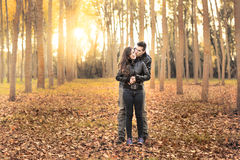Romantic couple wearing jeans walking in autumn park Stock Photo
