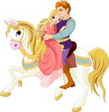 Romantic couple on white horse stock illustration