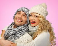 Romantic couple in winter clothes Royalty Free Stock Images