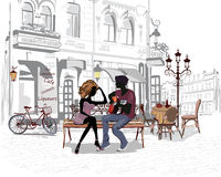 Free Romantic Couple With A Guitar Sitting On The Bench In The Old City Royalty Free Stock Photography - 49127697