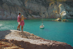 Romantic couple and yacht. Romantic couple on the beach and yacht Stock Images