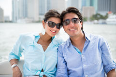 Romantic couple in a yacht Stock Image