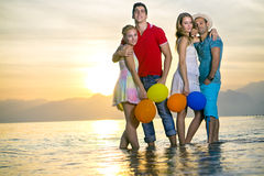 Romantic Couples Posing at the Beach Stock Photography