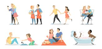 Romantic couples set. Men and women together vector illustration