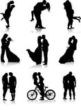 Romantic couples silhouettes Stock Photography