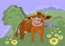 Romantic cow on the background of the countryside. Romantic cow with flowers that she decorated her horns. In the distance, the background of a small village vector illustration